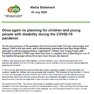 Media Statement: Once again no planning for children and young people with disability during the COVID-19 pandemic