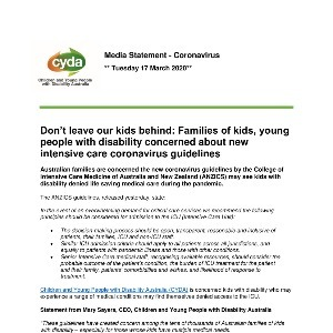 Media Statement: Don't leave our kids behind: Families of kids, young people with disability concerned about new intensive care coronavirus guidelines
