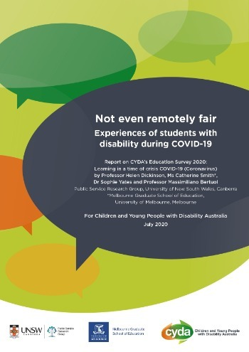 Not even remotely fair: Experiences of students with disability during COVID-19 - Full Report